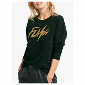 hush Flash Slogan Glitter Sweat Top, Black/Gold