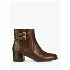 Geox Women's Jacy Leather Double Buckle Heeled Ankle Boots