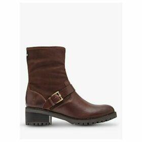Joules Harley Block Heel Leather Ankle Boots, Dark Brown