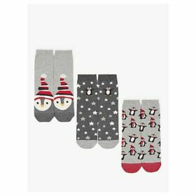 John Lewis & Partners Penguins Print Ankle Socks, Pack of 3, Grey/Multi