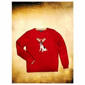 Joules Festive Crew Neck Jumper, Red Yule Dog