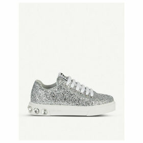 Embellished-detail glitter trainers