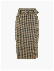 M&S Collection Checked Belted Midi Pencil Skirt