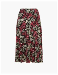 M&S Collection Jersey Floral Print Slip Midi Skirt