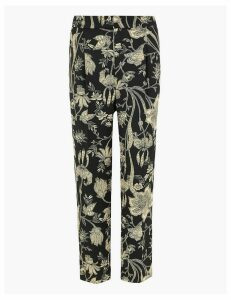 M&S Collection Floral Print Tapered Ankle Grazer Trousers