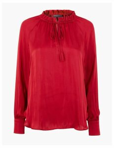 M&S Collection Satin Ruffle Neck Blouse