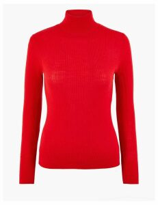 Autograph Merino Ribbed Roll Neck Slim Fit Jumper