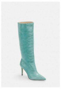 Blue Mock Croc Mid Heel Knee High Boots, Blue