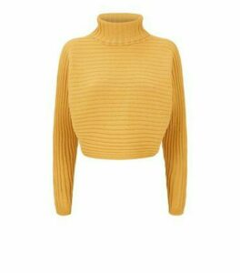 Mustard Roll Neck Crop Jumper New Look