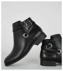Wide Fit Black Faux Croc Panel Ankle Boots New Look Vegan