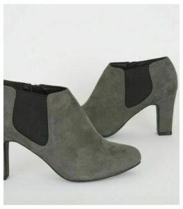Wide Fit Grey Block Heel Chelsea Shoe Boots New Look Vegan