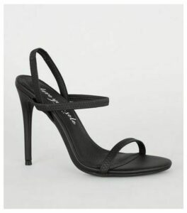 Black Leather-Look Elastic Strap Stiletto Heels New Look Vegan