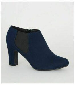 Wide Fit Navy Block Heel Chelsea Shoe Boots New Look