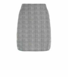 Innocence Light Grey Check Jacquard Skirt New Look