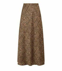 Brown Bias Cut Satin Leopard Print Midi Skirt New Look