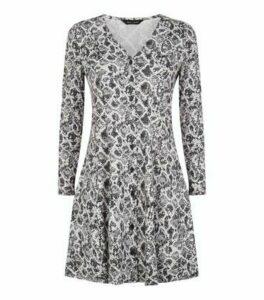 Light Grey Snake Print Button Up Dress New Look