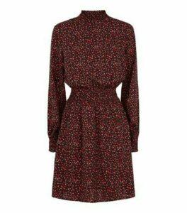 Black Abstract Spot Long Sleeve Mini Dress New Look