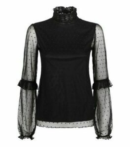 Carpe Diem Black Spot Mesh Ruffle Blouse New Look