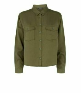 Khaki Long Sleeve Utility Shirt New Look