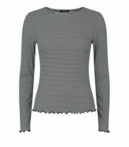 White Stripe Frill Trim Long Sleeve T-Shirt New Look