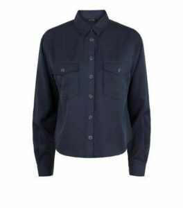Navy Long Sleeve Utility Shirt New Look