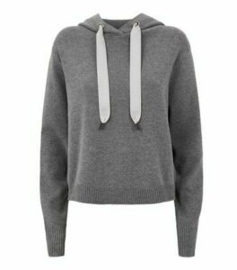 Dark Grey Knitted Hoodie New Look