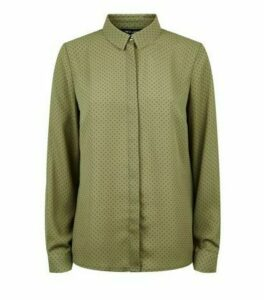 Green Spot Print Long Sleeve Shirt New Look