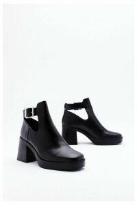 Womens Cut Out Flare Heel Platform Boot - Black - 8, Black