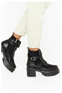 Womens Stunning Chunky Cleated Boots - Black - 8, Black