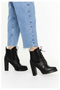 Womens Lace Up Cleated Chelsea Heeled Boot - Black - 8, Black