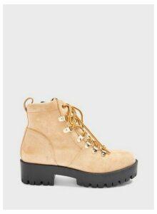 Womens Bella Tan Flat Ankle Hiker Boots, TAN