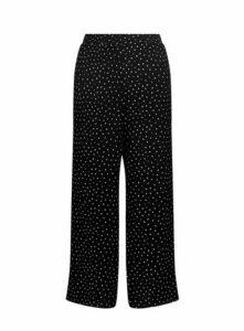 Black Polka Dot Wide Leg Trousers, Black