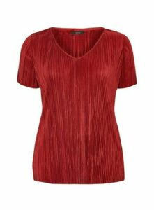 Rust Plisse Detail V-Neck Top, Rust