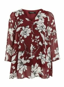 Wine Floral Long Sleeve Split Blouse, Wine
