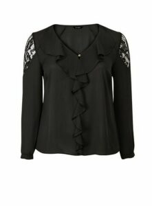 Black Lace Frill Top, Black