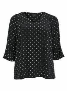 Black Spot Frill Sleeve Top, Black