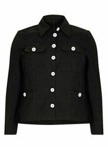 **Live Unlimited Black Buttoned Jacket, Black