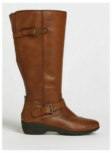 Wide Fit Brown Comfort High Leg Boots, Brown