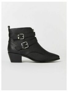 Extra Wide Fit Black Zip Buckle Ankle Boots, Black