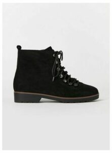Extra Wide Fit Black Lace Up Hiker Boots, Black