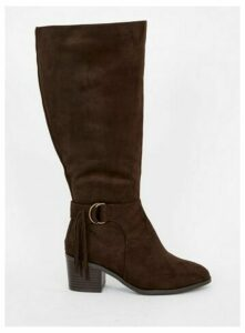 Extra Wide Fit Brown Tassel High Leg Boots, Brown