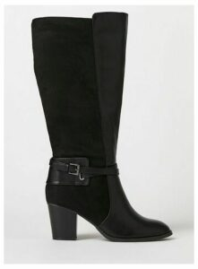 Extra Wide Fit Black Wrap Buckle High Leg Boots, Black