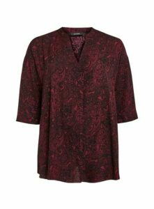 Wine Red Paisley Print Shirt, Wine