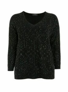 Black Sequin V-Neck Jumper, Black