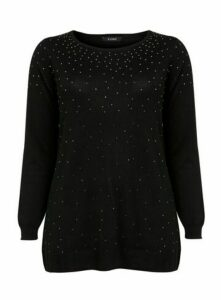 Black Glitter Embellished Jumper, Black