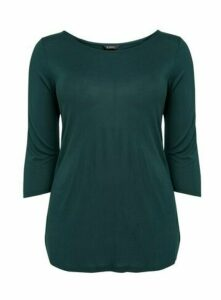 Green Slash Neck Top, Green