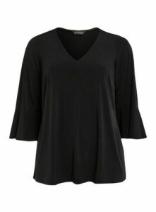 Black Frill Sleeve Jersey Top, Black
