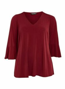 Wine Red Frill Sleeve Jersey Top, Berry