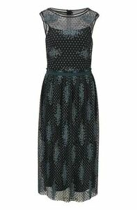 Sleeveless dress in embroidered tulle with dot motif
