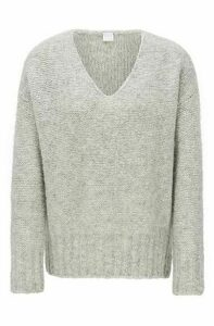 Relaxed-fit V-neck sweater with dropped shoulders